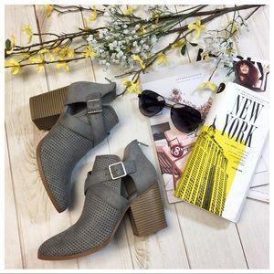 Gray buckle bootie